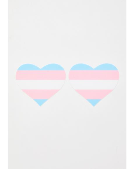 Trans Flag Heart Pasties