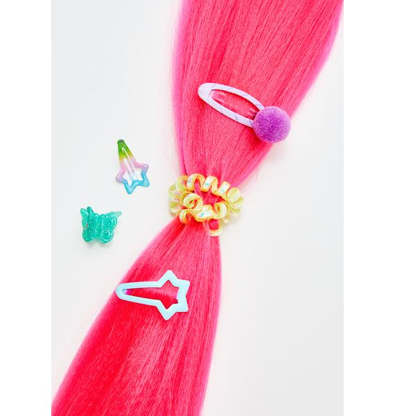 Go Get Glitter Neon Pink Add In Hair Extensions