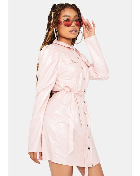 Sassier Than Ever Vegan Leather Shirt Dress