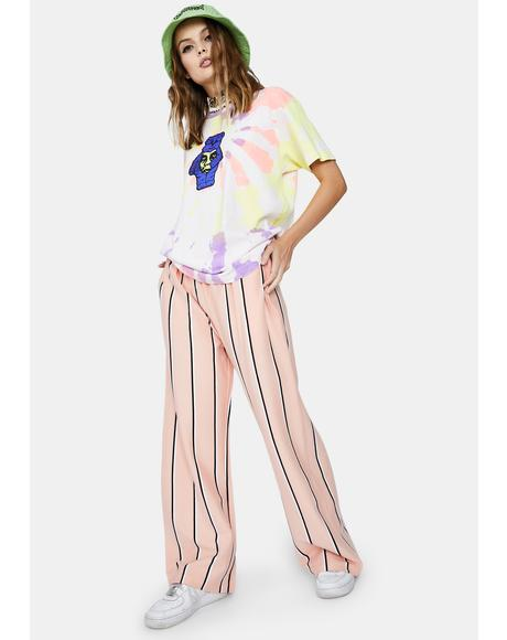 Peach Ronny Striped Pants