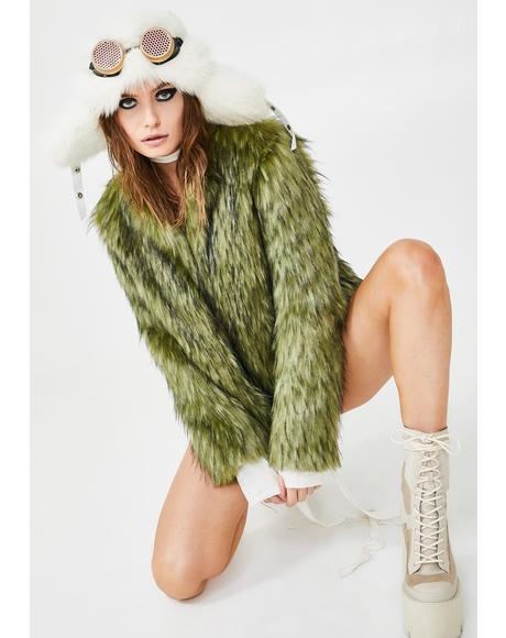 Jade Fox Faux Fur Bomber Jacket