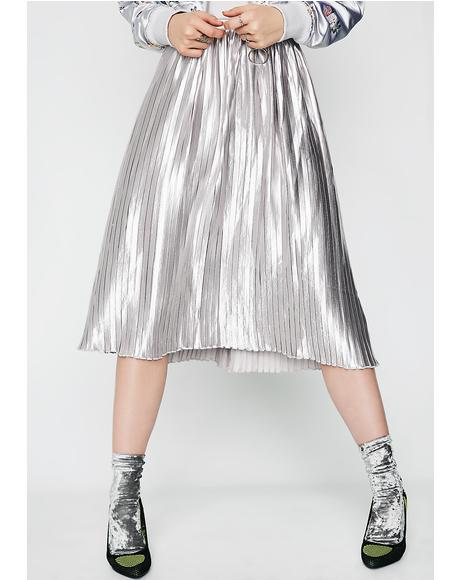 Liquid Metal Pleated Skirt