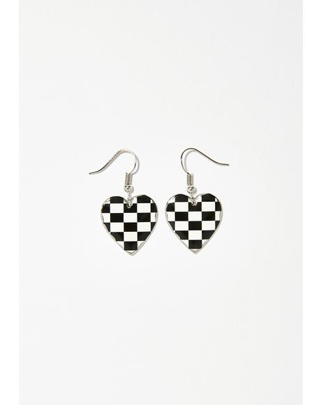 My First Love Checkered Earrings