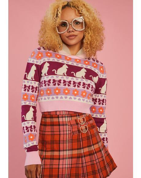 Check Meowt Crop Sweater
