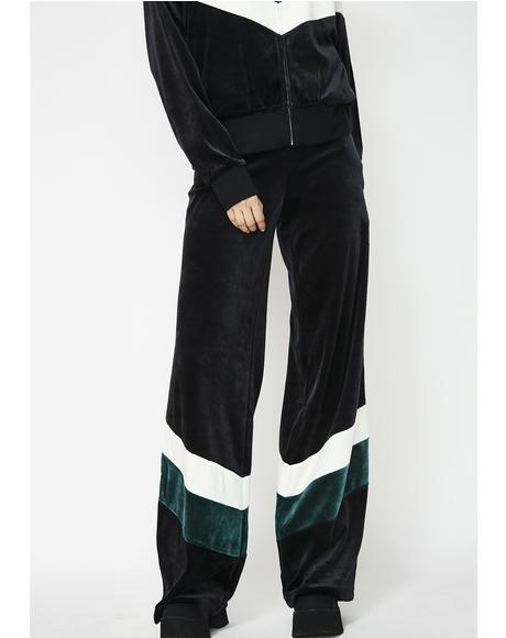 Colorblock Lightweight Velour Wide Leg Pants