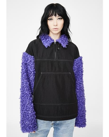 Purple Zipper Sherpa Pullover