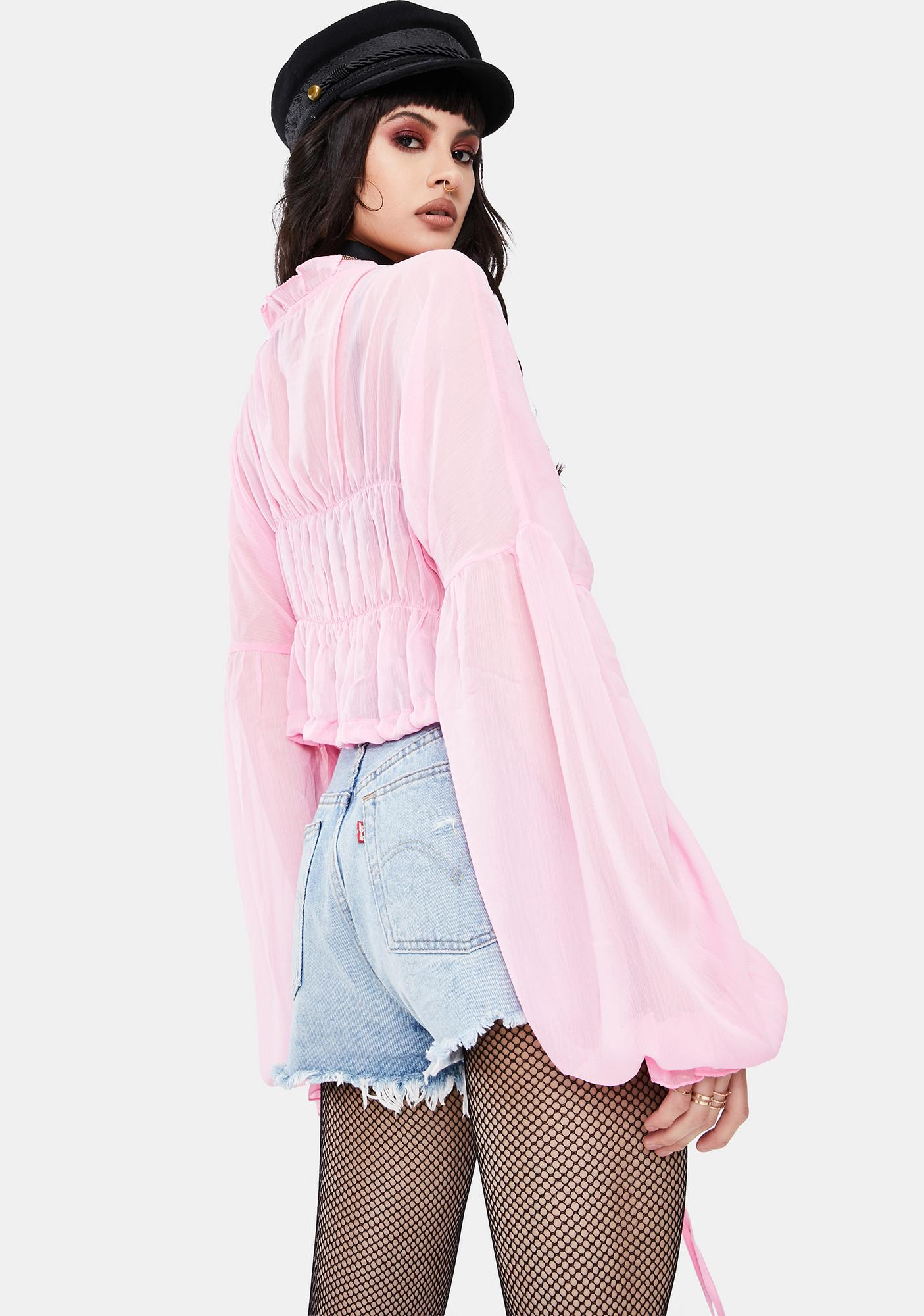 SNDYS. THE LABEL Baby Pink Bali Ruffle Top