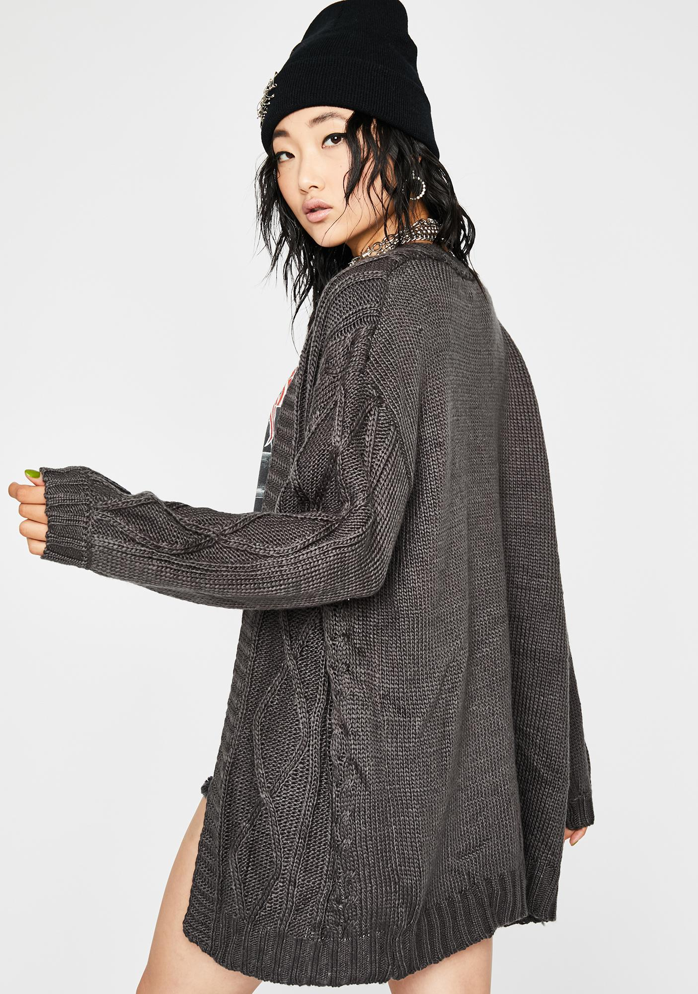 Charcoal Couch-Ridden Knit Cardigan