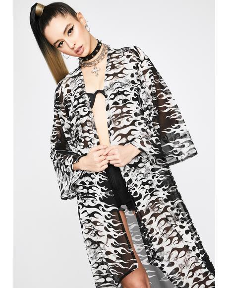 Pure Hellish Prisms Mesh Kimono