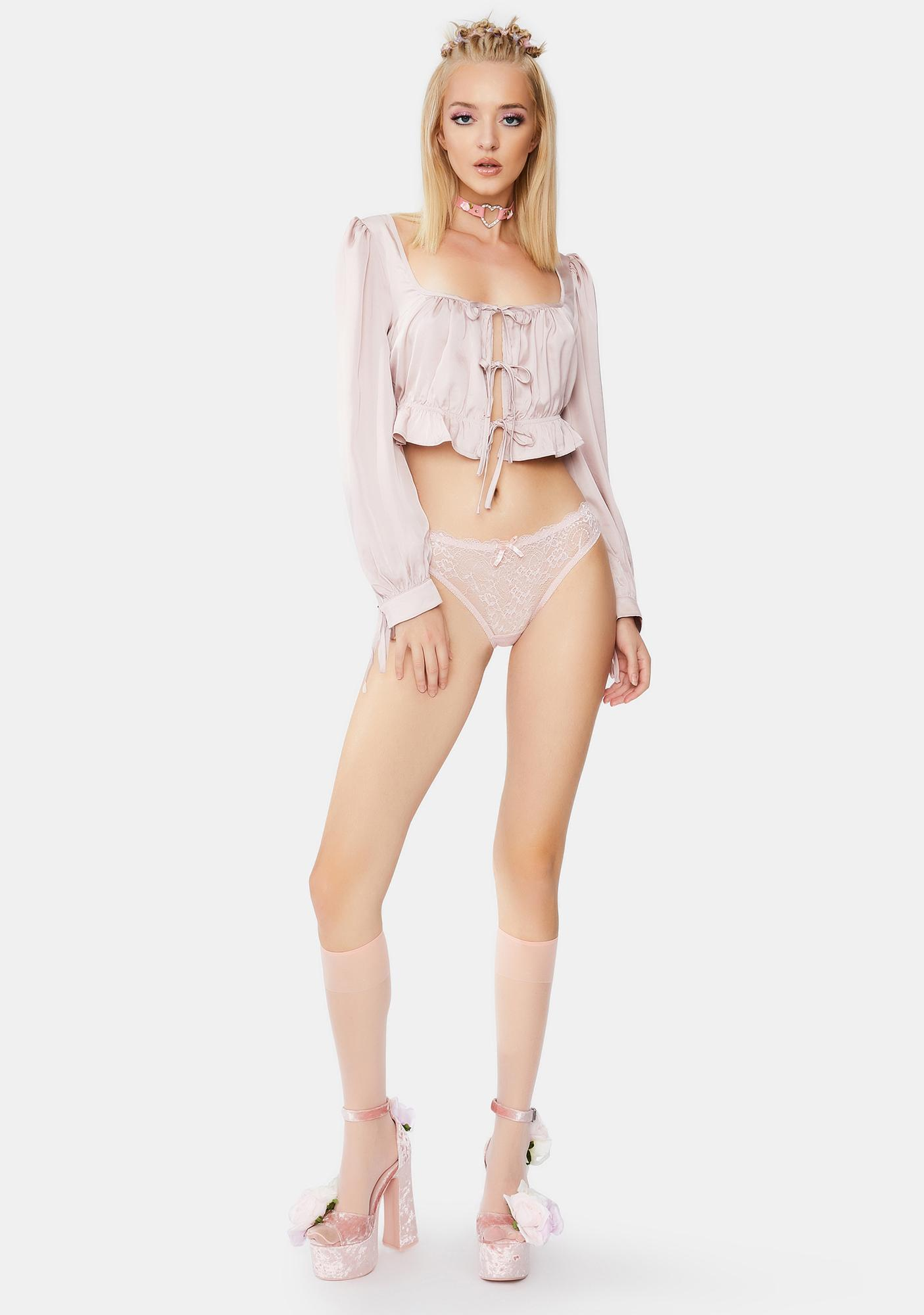 Bailey Rose Blush Long Sleeve Crop Top
