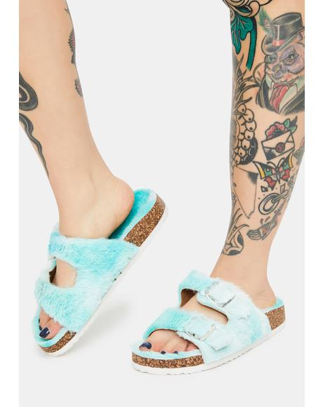 Mint Cold Creature Faux Fur Slides