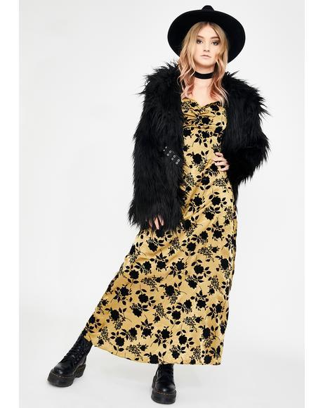 Olive Floral Print Midi Dress