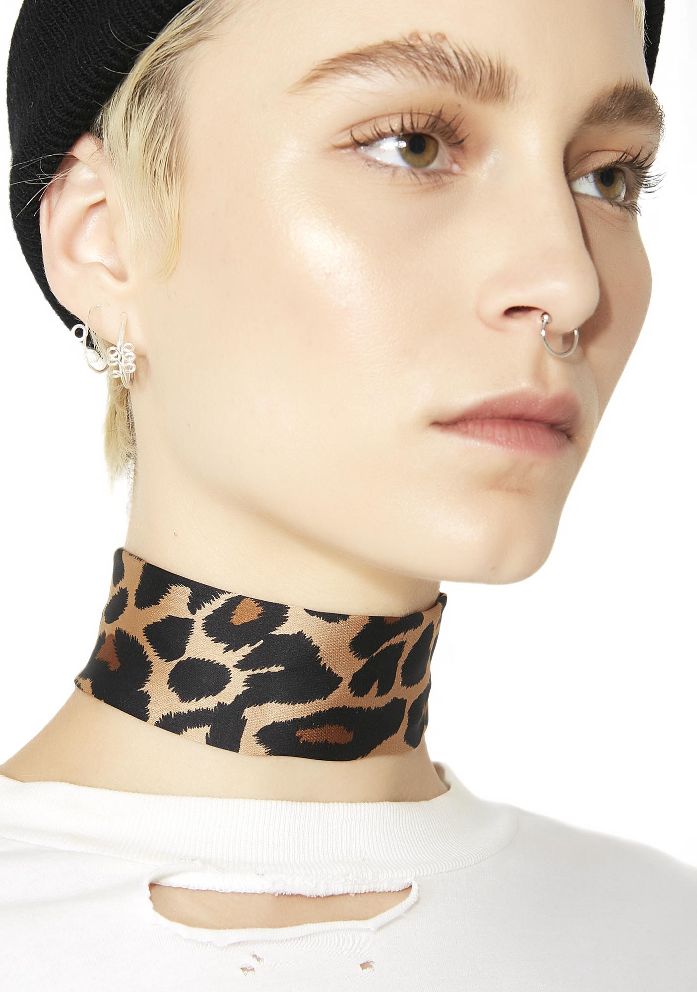 Leopard Fabric Choker