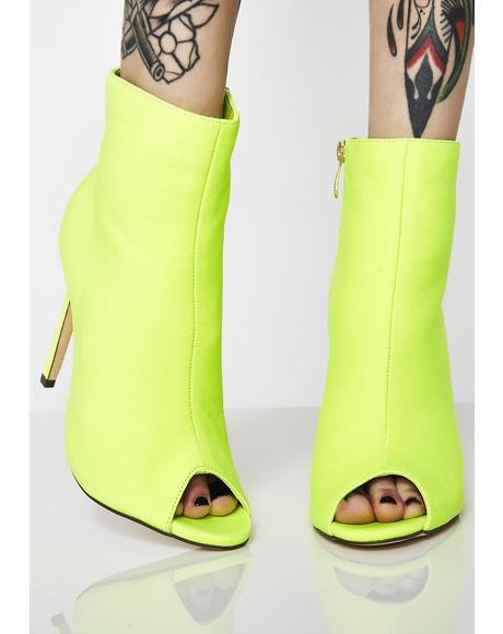 Vivid Vixxen Peep Toe Booties