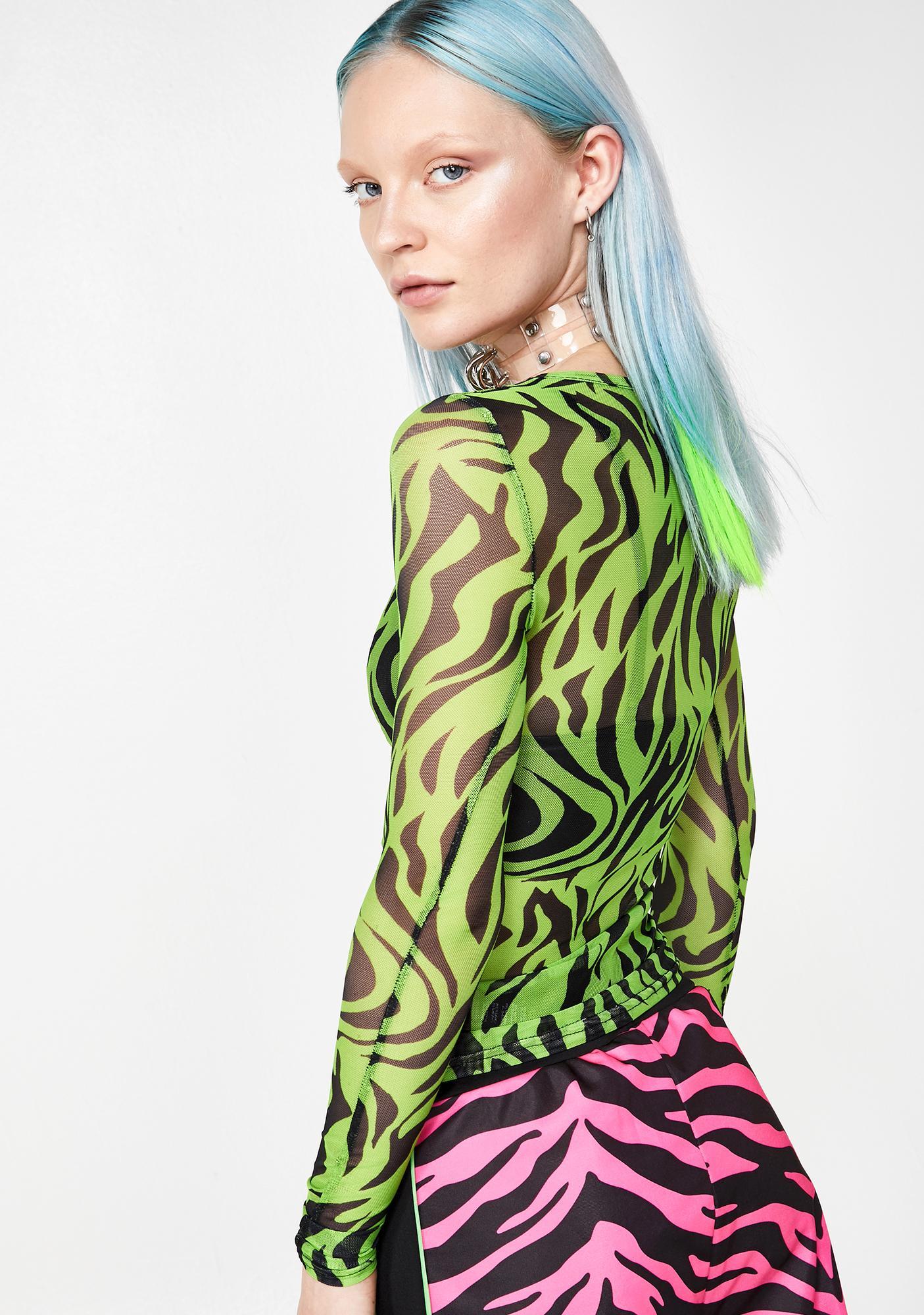 Daisy Street Zebra Print Mesh Top
