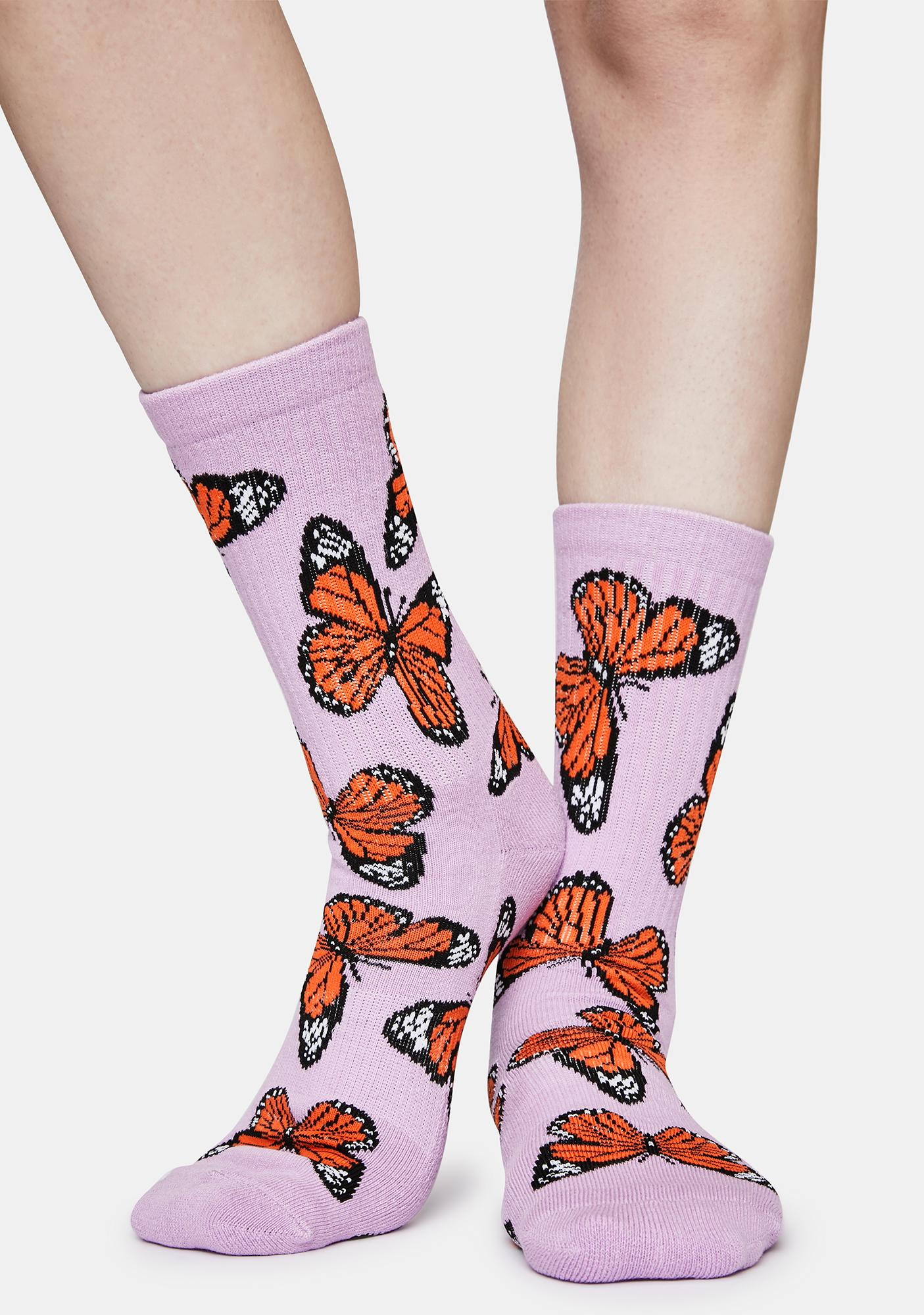 Petals and Peacocks Purple Butterflying Socks