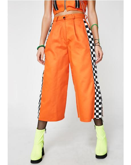 Orange Check Pistol Trousers