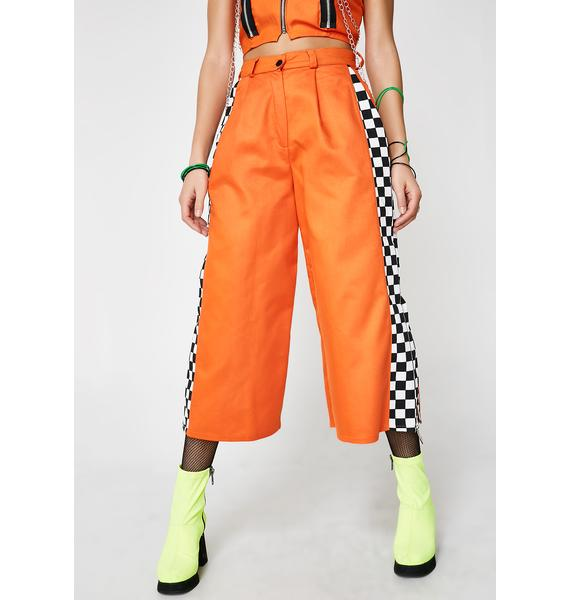 LOVE TOO TRUE Orange Check Pistol Trousers