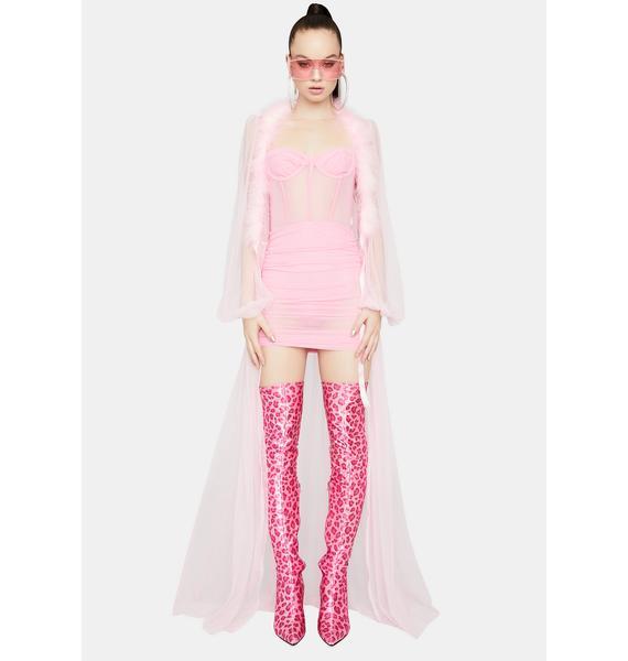 Hit My Line Mesh Ruched Corset Mini Dress