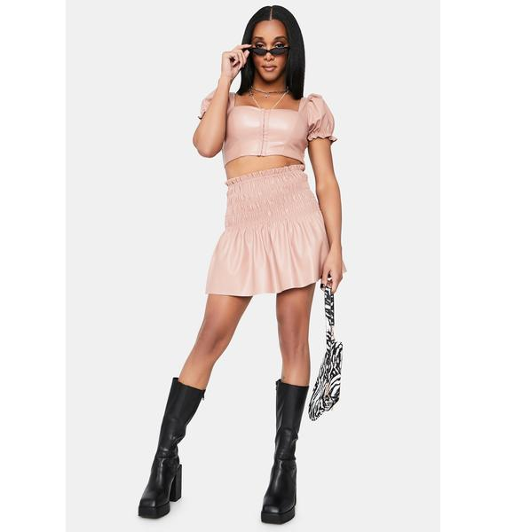 Blush What's Your Function Faux Leather Crop Top