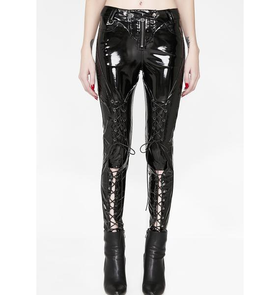 Punk Rave Punk Bright PU Leather Trousers