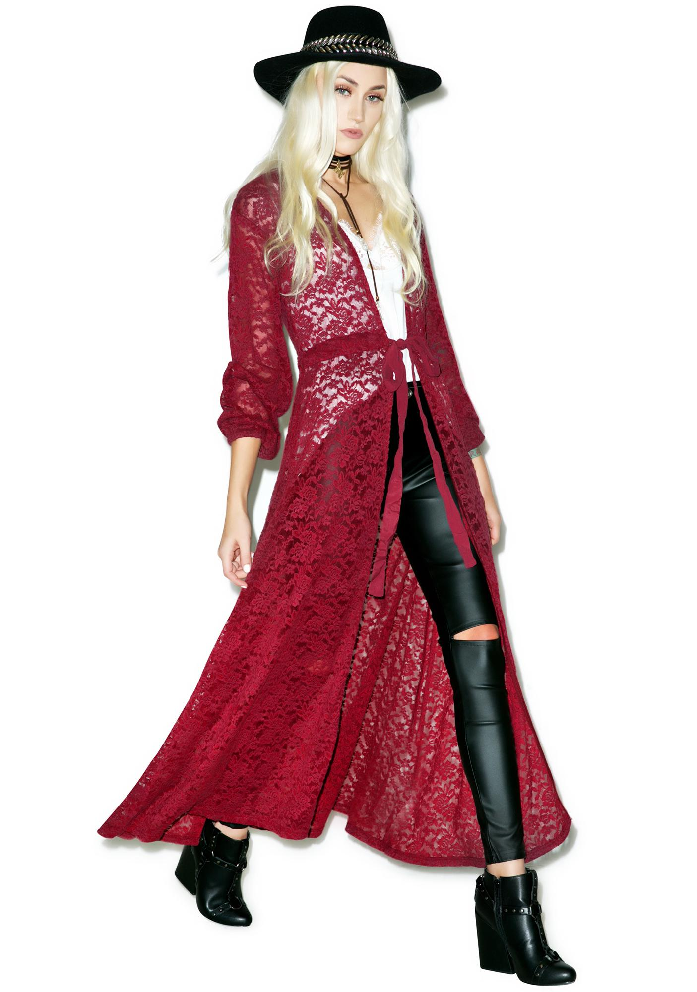 Somedays Lovin Night Dust Lace Maxi Cape