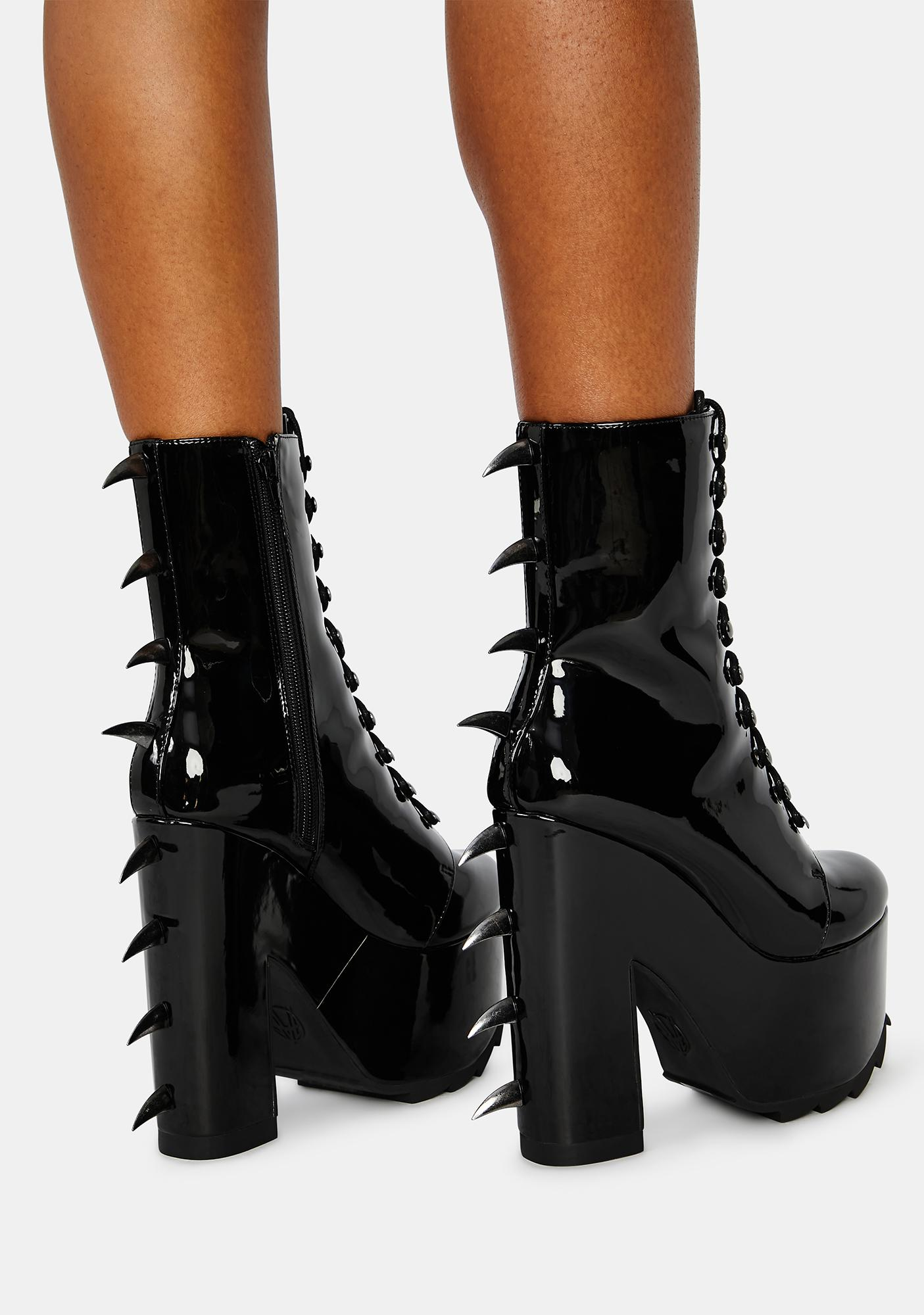 FAN ALL FLAMES Patent Predator Spiked Platform Boots