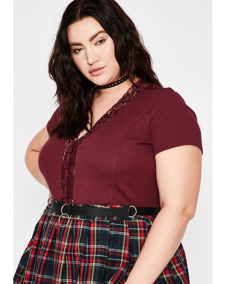 Maroon Detention Crush Button Up Tee