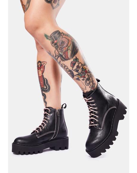Bikers Mischief Lace Up Boots