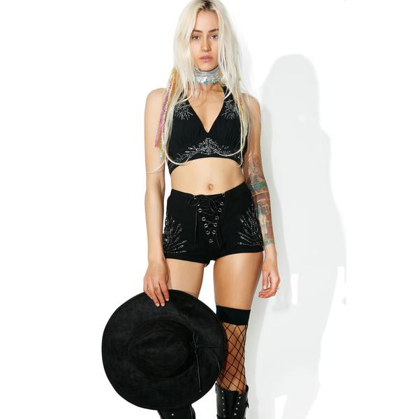 Current Mood Moonflower Beaded Shorts