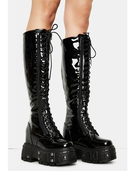 Late Night Patent Knee High Boots