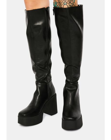 Slick Nicks Knee High Platform Boots