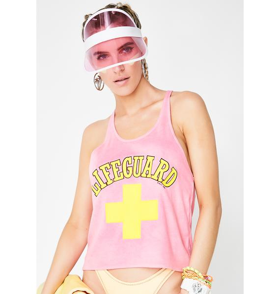 Vintage 80s Pink Lifeguard Tank Top
