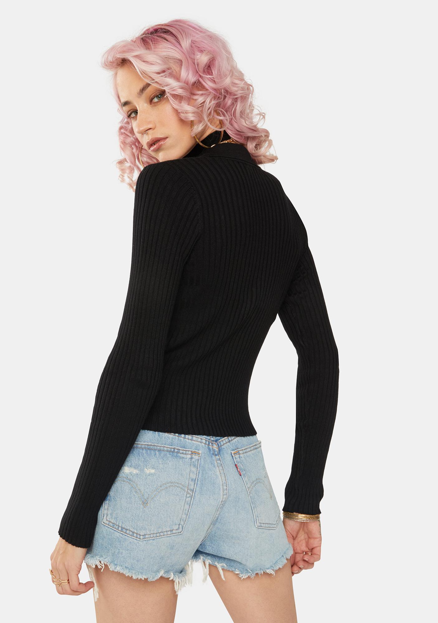 Dress Forum Black Collared Cardigan