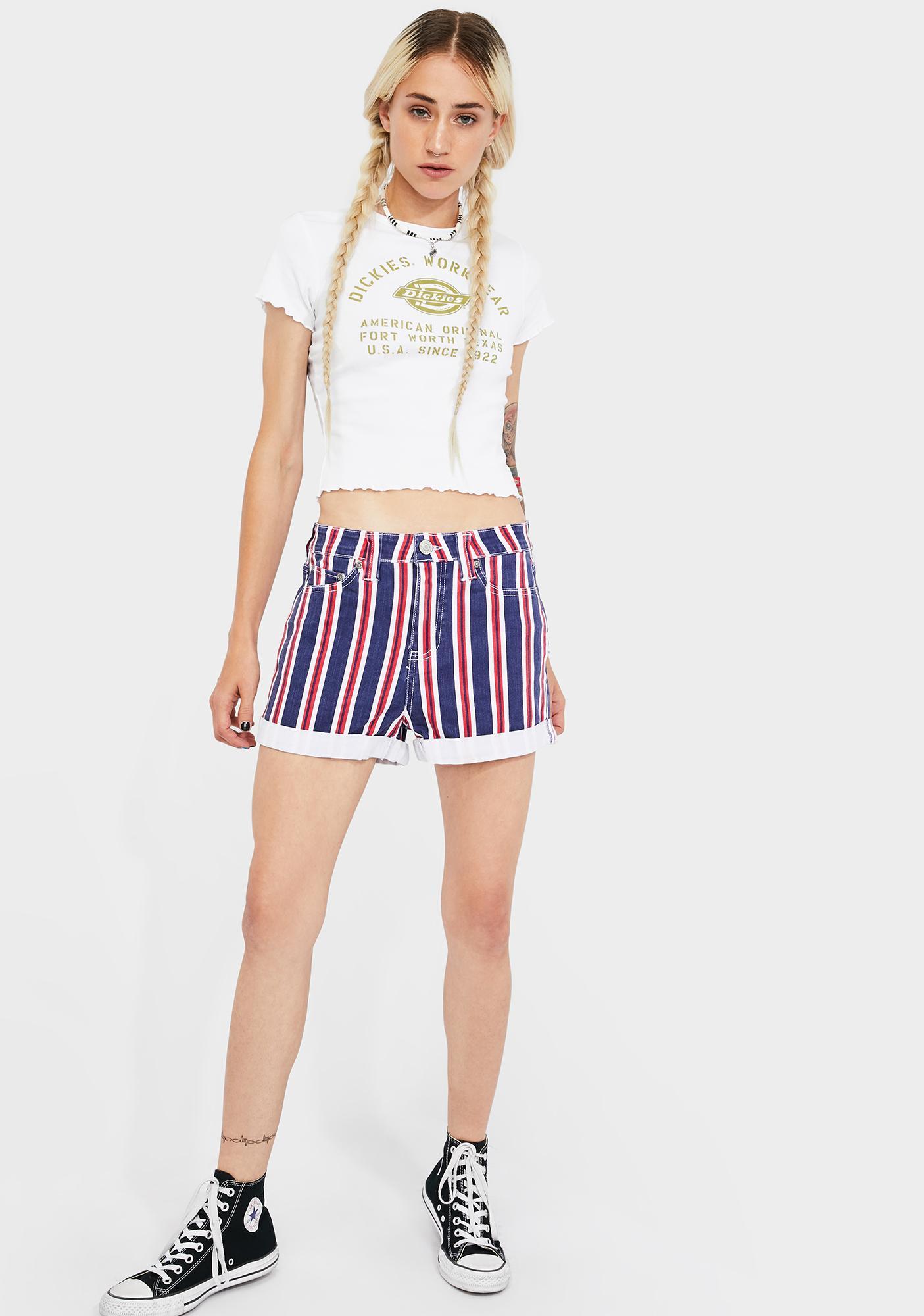 Dickies Girl Striped High Rise Roll Cuff Shorts