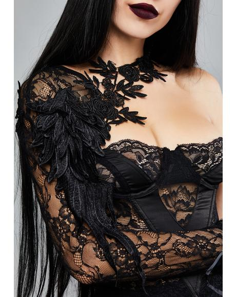 Gothic Half Lace Sleeves With Flowers