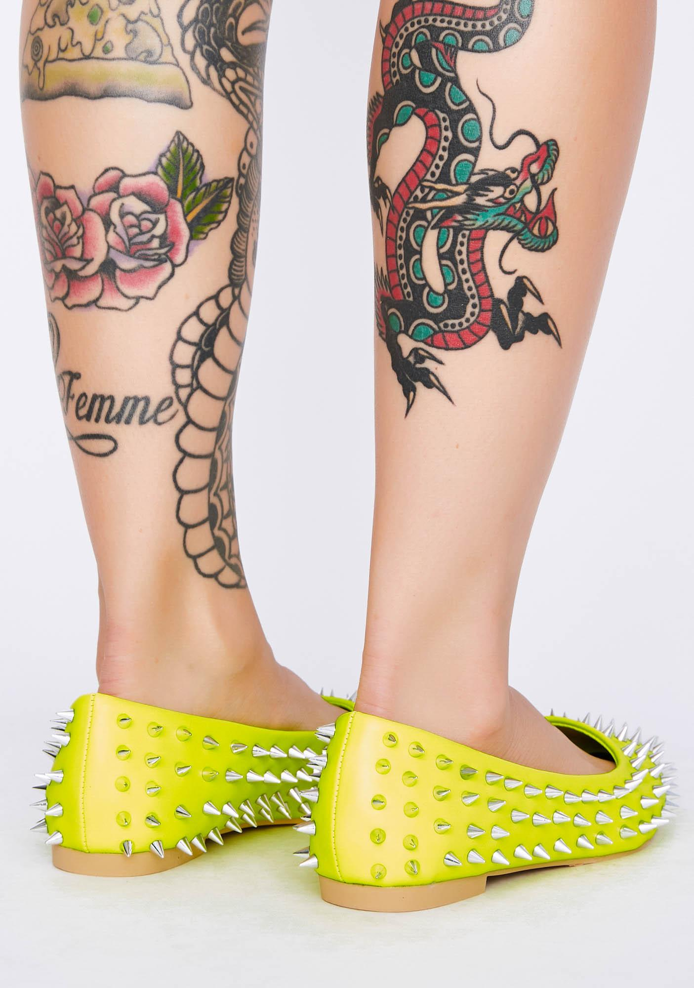 Canary Shout Louder Spiked Flats