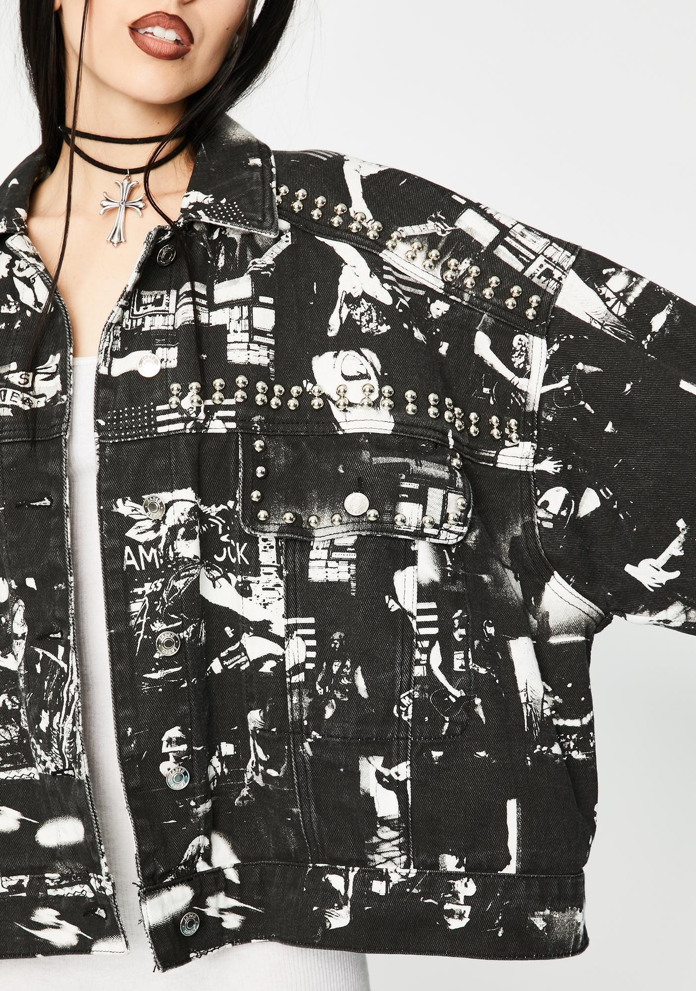 Jaded London Punk Rock Photograph Studded Denim Jacket