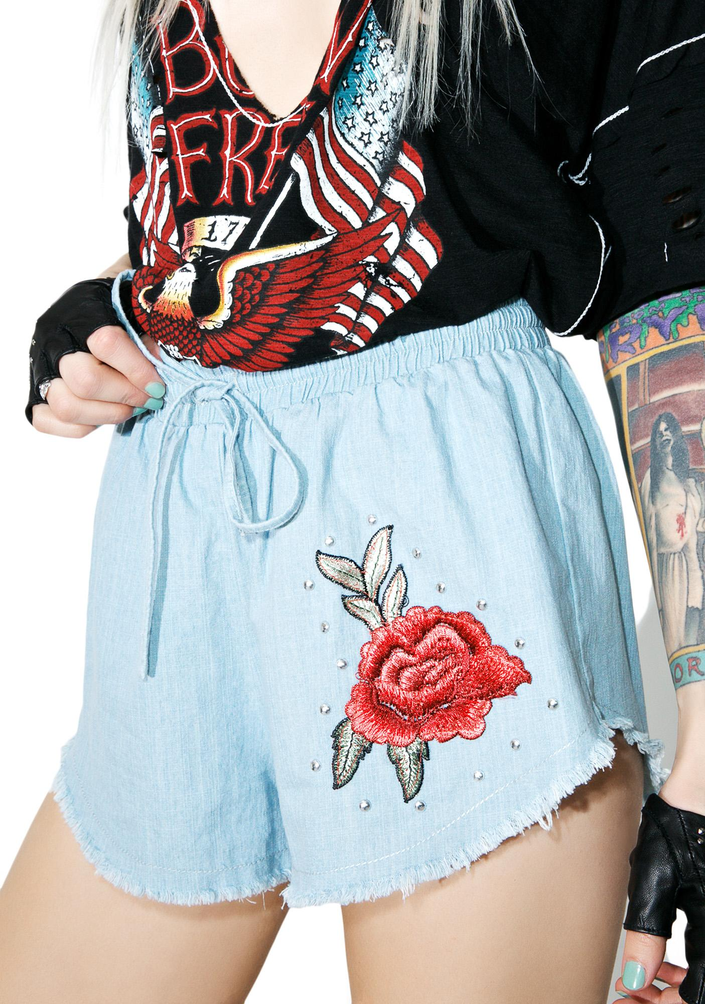 Wild Rose Denim Shorts