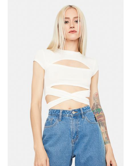 Ivory Wrapped Around Your Finger Crop Top