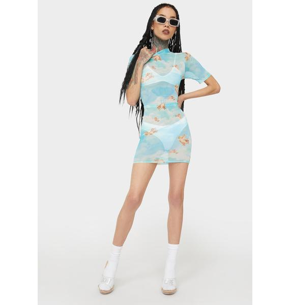 Sky Earn My Wings Mesh Dress