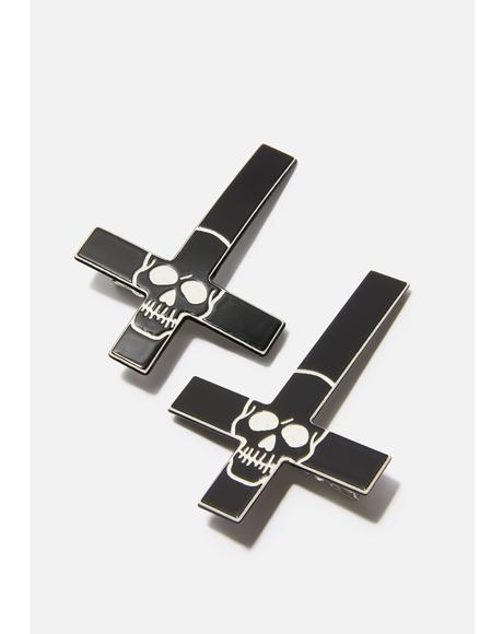 Black Inverted Cross Skull Hairclips