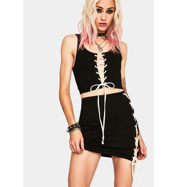 Lost Cause Lace Up Skirt