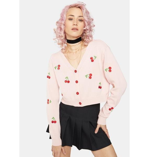 Minga Cherry Girl Crop Cardigan