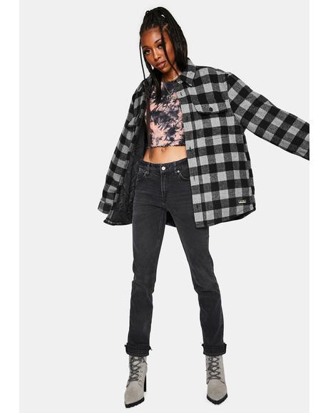 Cuffed Slim Denim Boyfriend Jeans