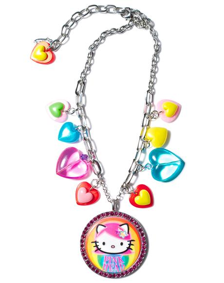 Pink Head Multicharm Necklace