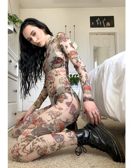 Flash Tatts Sheer Catsuit