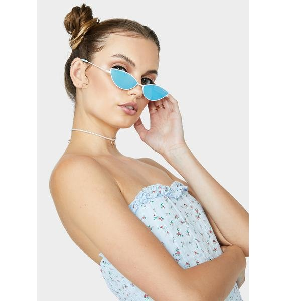 Skinnydip White Almond Wire Frame Sunglasses
