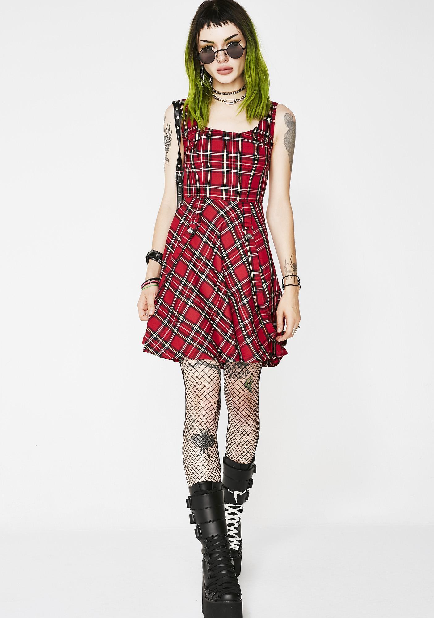 Tripp NYC Plaid Suspender Dress