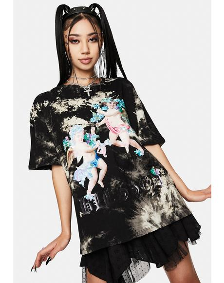 Tie Dye Embellished Cherub T-Shirt